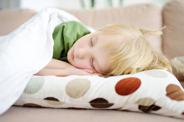 Afternoon sleep of preschooler or elementary school child. Tired boy fell asleep on sofa in the afternoon. Baby having a day nap. Parents overloads children with learning and activities.