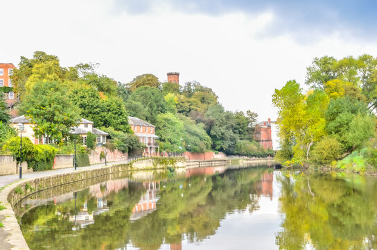 Shrewsbury Town river scene with residential homes
