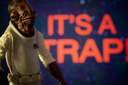NEW YORK USA: APRIL 13 2020: Star Wars Admiral Ackbar with his famous quote 'ITS A TRAP!' from Return of the Jedi - Hasbro action figures