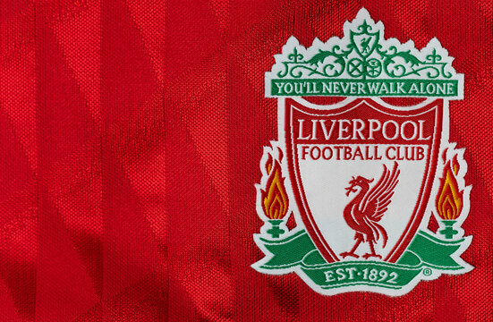 TRAT, THAILAND-JULY 02 2020: Bagde logo of Liverpool Football Club in England premier league on on red Jersey