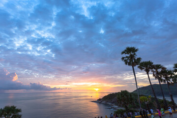 .The sugar palm is a symbol of Promthep cape viewpoint. .Promthep cape viewpoint is the most popular viewpoint in Phuket. .the most tourist always come to see sunset at this landmark.