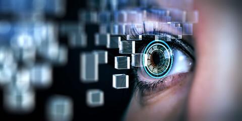 Foto op Plexiglas Iris Close up of woman eye in process of scanning