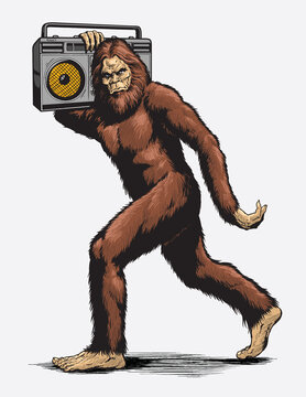 Walking Sasquatch with boombox vector illustration