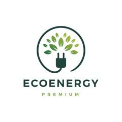 eco energy logo vector icon illustration