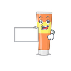 Wall Mural - Cartoon character style of toothpaste holding a white board
