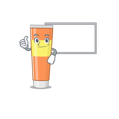 Wall Mural - Toothpaste Caricature character design style with a white board