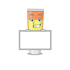 Wall Mural - Funny cartoon design style toothpaste standing behind a board