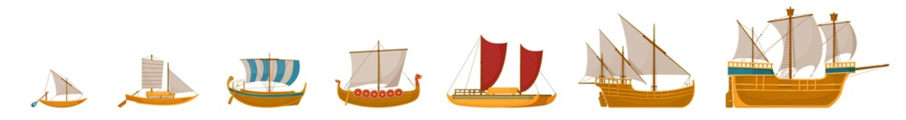 Fotorolgordijn Schip Vintage sailboats set. Isolated cartoon vintage wooden sail boat ship icon collection. Vector old nautical sailboat vessel and ocean travel concept