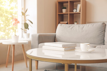 Wall Mural - Interior of modern room with table and sofa