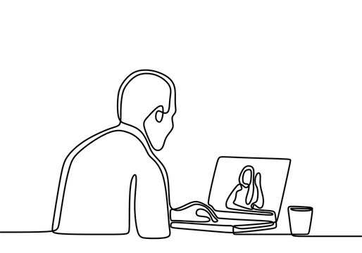 One continuous line drawing of businessman in the office on video. Serious young man wearing wireless headphones makes video call talk looks at pc screen. Male in headphones communicating distantly