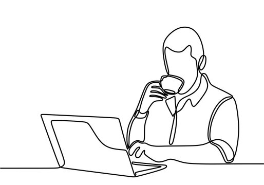 Continuous one line drawing man looking for ideas in notebook while holding a cup coffee in hands. Man work at computer. Business man looking at computer monitor during working day in office