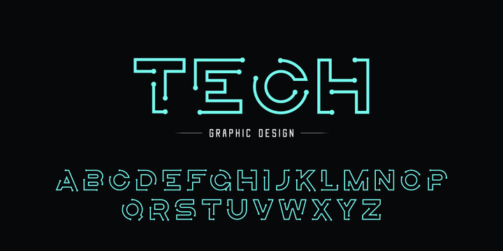 Creative abstract modern digital technology fonts. Minimalist slim typography monogram font style. Vector illustration and tech logo
