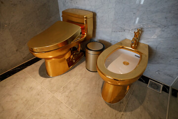 Gold plated toilets are seen at the newly-inaugurated Dolce Hanoi Golden Lake hotel, after the government eased a nationwide lockdown following the global outbreak of the coronavirus disease (COVID-19), in Hanoi