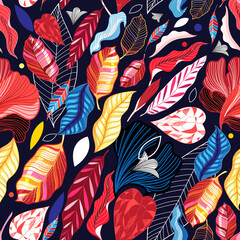Autumn seamless pattern with color leaves