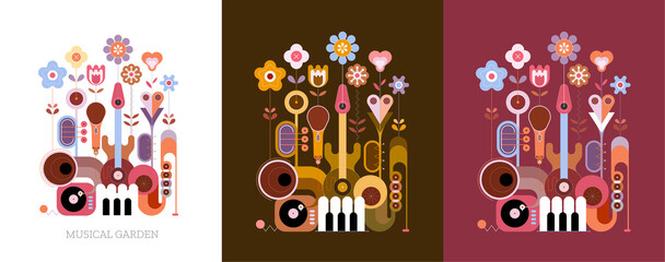 Printed kitchen splashbacks Abstract Art 3 options of colored design isolated on a olive / on a white / on a dark red background Flowers and Musical Instruments vector illustration. Blossoming flowers grow from different music instruments.