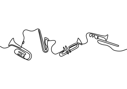 One continuous line drawing of jazz instrument. Musical tools of electric trumpet, violin and saxophone. Classical music instrument concept line drawn by hand on a white background