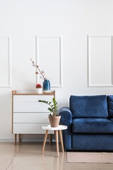 Stylish sofa, chest of drawers and table with houseplant near light wall in room