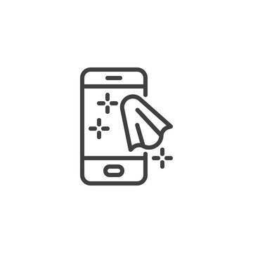 Cleaning mobile phone line icon. linear style sign for mobile concept and web design. Sanitize smartphone outline vector icon. Symbol, logo illustration. Vector graphics