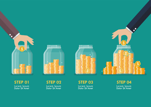 Step of Hand saving coins in glass jars infographic