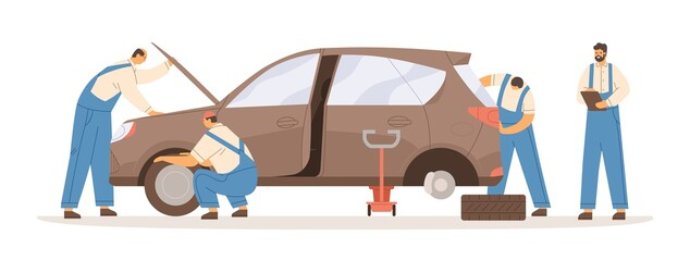 Group of male mechanics working at car repair service vector flat illustration. Professional workman in overalls during maintenance automobile isolated on white. Lifting and checking of vehicle
