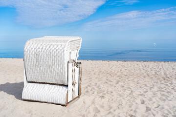 White beach chair on a beach on the German Baltic Sea coast