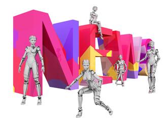 Das Wort NEWS mit 3D Figuren, Freisteller