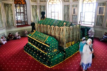Bursa, Turkey - 25 June 2011: People visit Emir Sultan Tomb at EmirSultan Complex or Sultan Complex,a mosque complex in Bursa
