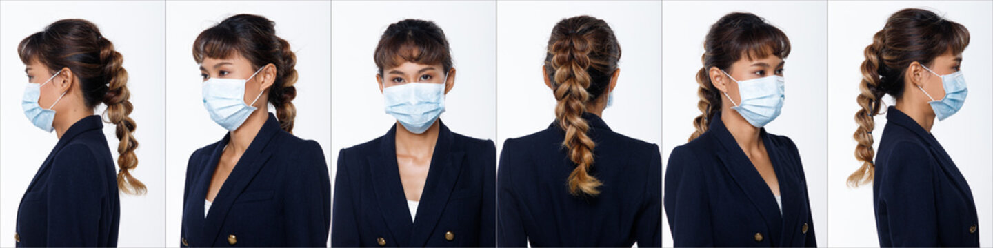 Asian woman white background isolated put surgical mask protect covid