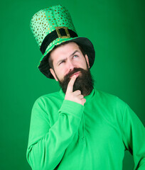 Happy patricks day. St patricks day holiday known for parades shamrocks and all things Irish. Global celebration. Man bearded hipster wear hat. Saint patricks day holiday. Green part of celebration