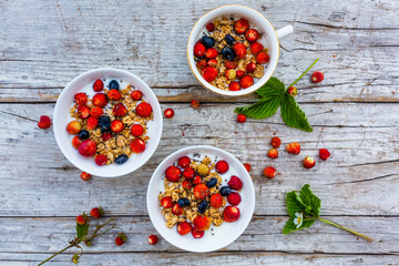 Muesli with fresh berries and yogurt.