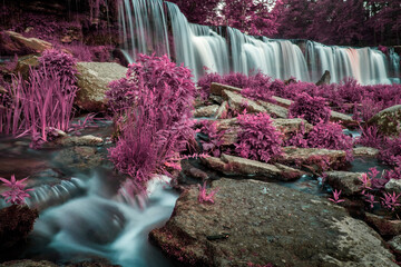 Poster Crimson unusual fabulous view of a beautiful waterfall