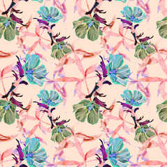 Exotic flowers and leaves, seamless pattern.