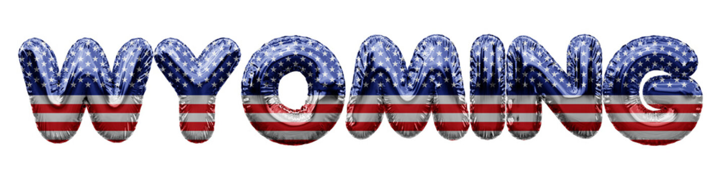 Wyoming USA state stars and stripes foil balloon word. 3D Rendering