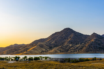 Lake Kaweah in California at sunset