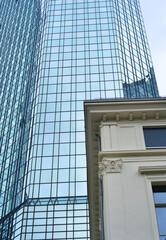 Architectural study old versus modern glas versus stone