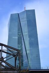 Frankfurt Main, Germany 03-14-2020 building of the ecb, european central bank with historical railbridge