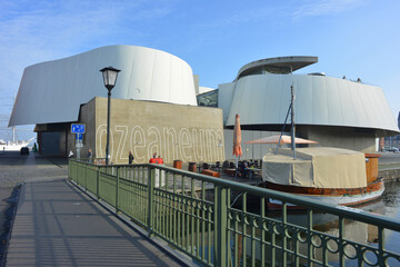 Stralsund, Germany 10-23-2019 view to the architecture of the Oceaneum a modern tourist destination