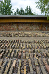 Mildenberg, Germany 08-16-2019 industry museum with storage building of historical bricks