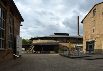 Mildenberg, Germany 08-16-2019 view to the architecture of the Ziegeleipark industry museum
