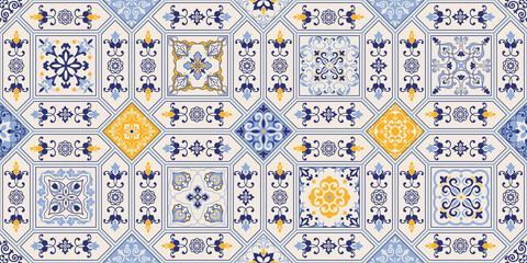 Azulejos tiles patchwork. Hand drawn seamless abstract pattern. Islam, Arabic, Indian, Ottoman motifs. Majolica pottery tile, blue, yellow azulejo. Original traditional Portuguese and Spain decor