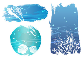 水中の背景イラストセット