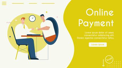 Vector banner illustration of online payment, internet banking
