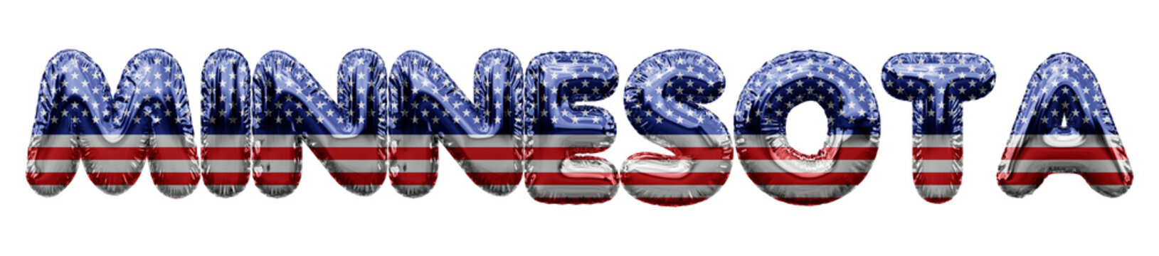Minnesota USA state stars and stripes foil balloon word. 3D Rendering