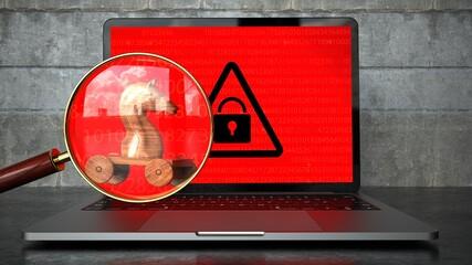 Foto op Plexiglas Hoogte schaal Encrypted Notebook Trojan Malware Detected