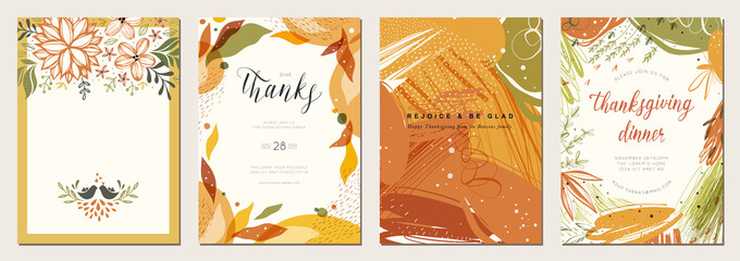 Thanksgiving cards. Set of abstract creative universal artistic templates. Good for poster, invitation, flyer, cover, banner, placard, brochure and other graphic design.