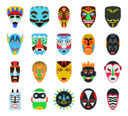 Pack Of Tribal Masks Vectors