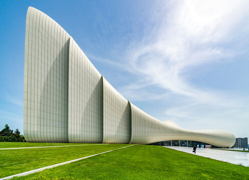 Baku, Azerbaijan - MAY 6 2019: Heydar Aliyev Cultural Center in Baku. The cultural center, built by architect Zaha Hadid.