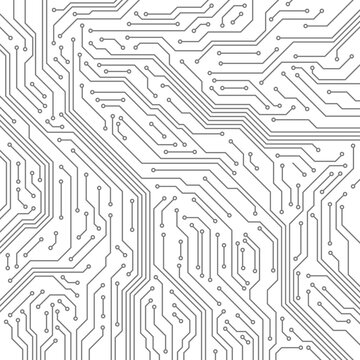 Circuit. Computer motherboard, microchip electronic technology. Hardware circuits board line vector texture. High tech pc processor abstract background with lines and dots illustration.
