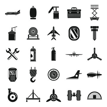 Aviation repair icons set. Simple set of aviation repair vector icons for web design on white background