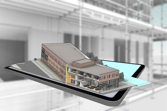 3D rendering tablet with building